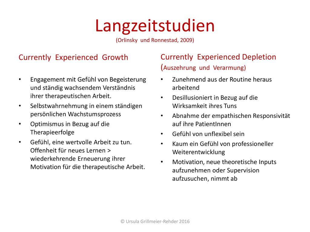 Langzeitstudien (Orlinsky und Ronnestad, 2009)