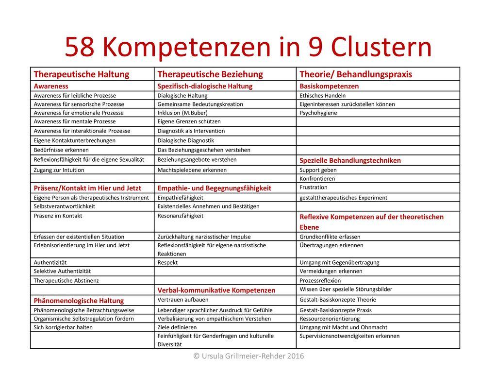 58 Kompetenzen in 9 Clustern