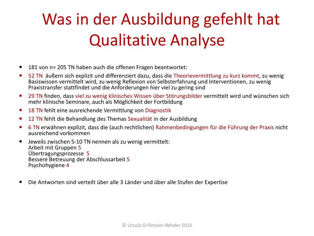 Was in der Ausbildung gefehlt hat Qualitative Analyse