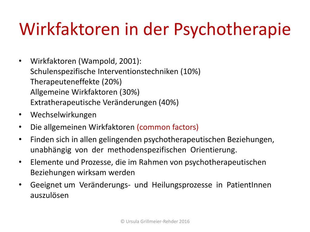 Wirkfaktoren in der Psychotherapie