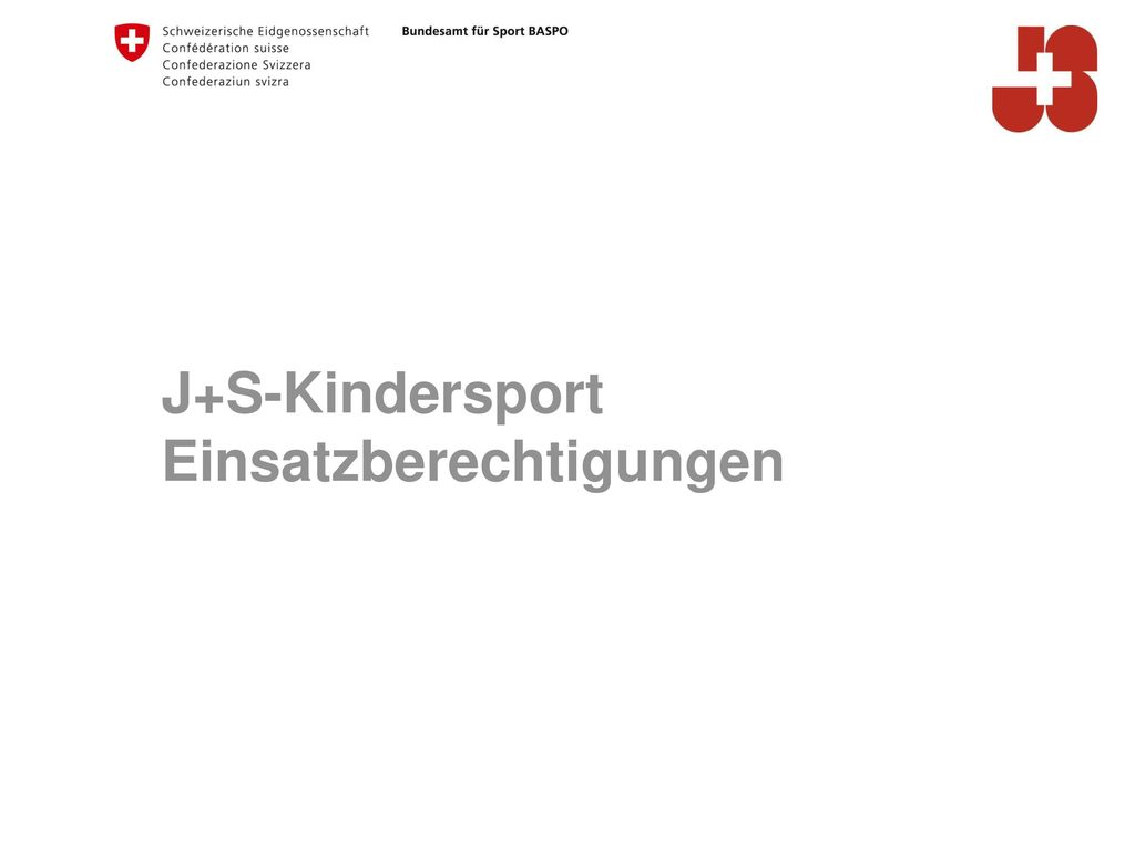 J+S-Kindersport Einsatzberechtigungen