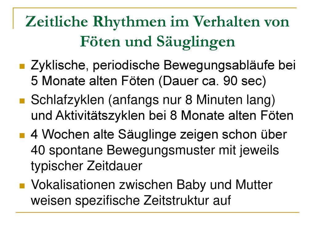 Zeitliche Rhythmen im Verhalten von Föten und Säuglingen