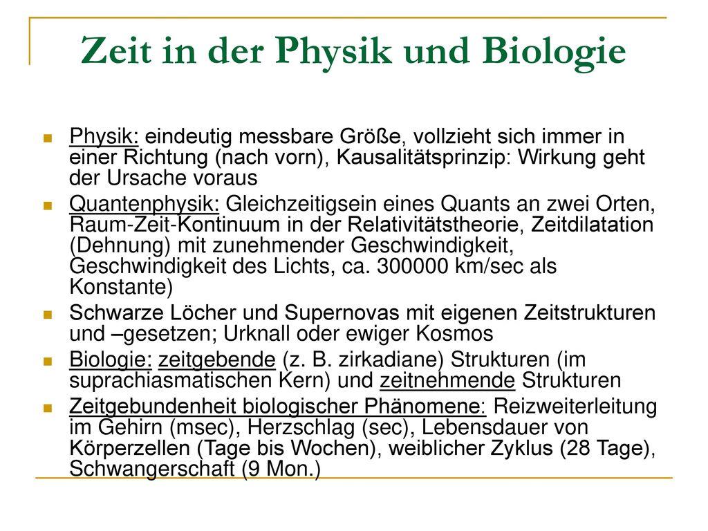 Zeit in der Physik und Biologie