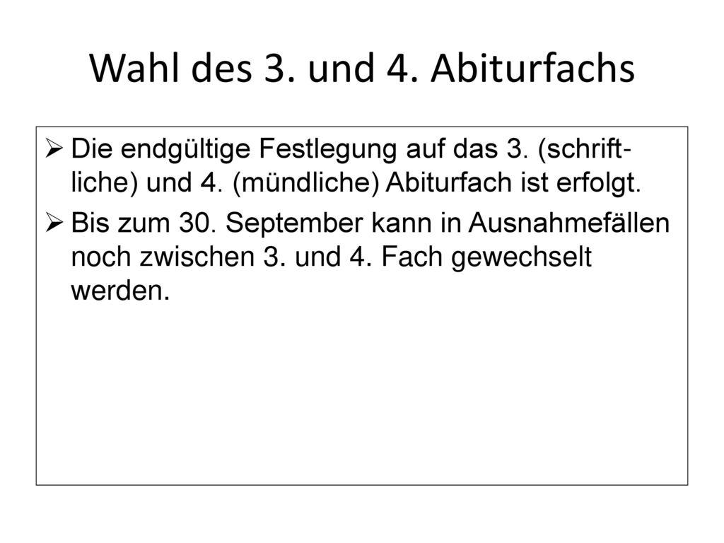 Wahl des 3. und 4. Abiturfachs