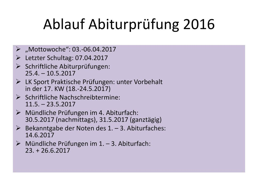 """Ablauf Abiturprüfung 2016 """"Mottowoche : 03.-06.04.2017"""
