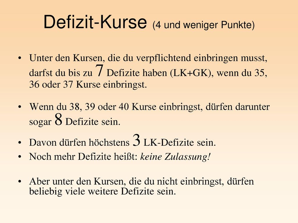 Defizit-Kurse (4 und weniger Punkte)