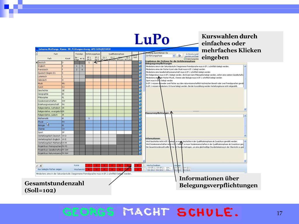 LuPo Kurswahlen durch einfaches oder mehrfaches Klicken eingeben