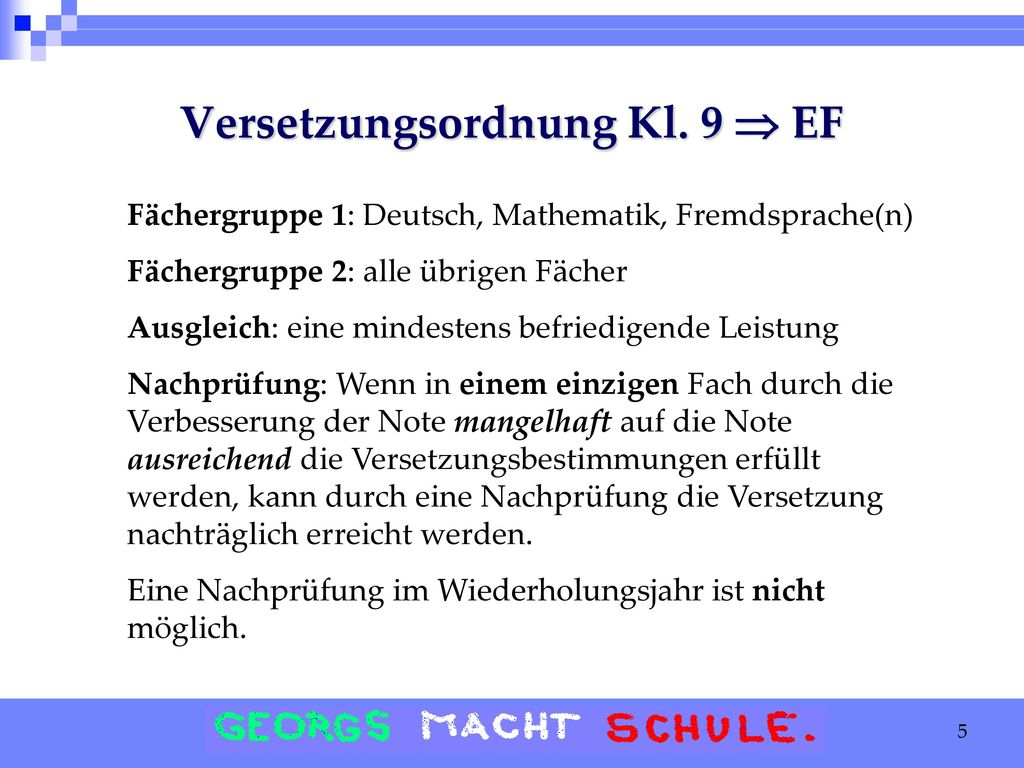 Versetzungsordnung Kl. 9  EF