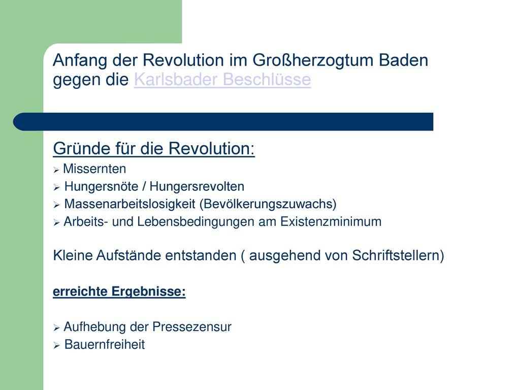 Gründe für die Revolution: