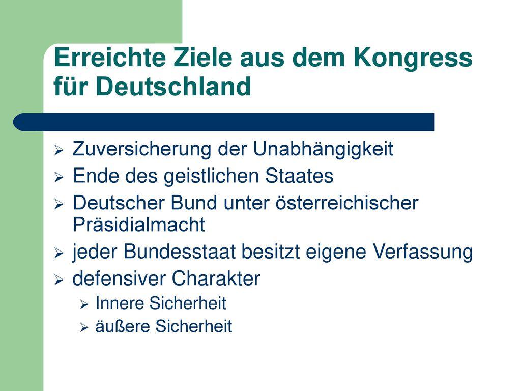 Erreichte Ziele aus dem Kongress für Deutschland