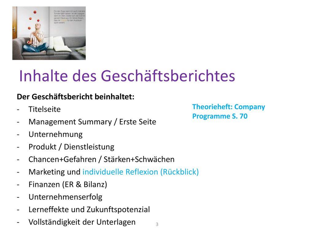Inhalte des Geschäftsberichtes