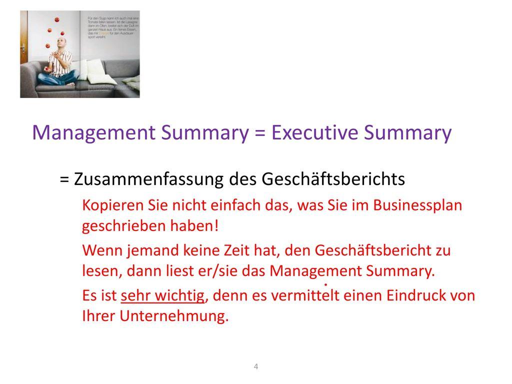 Management Summary = Executive Summary