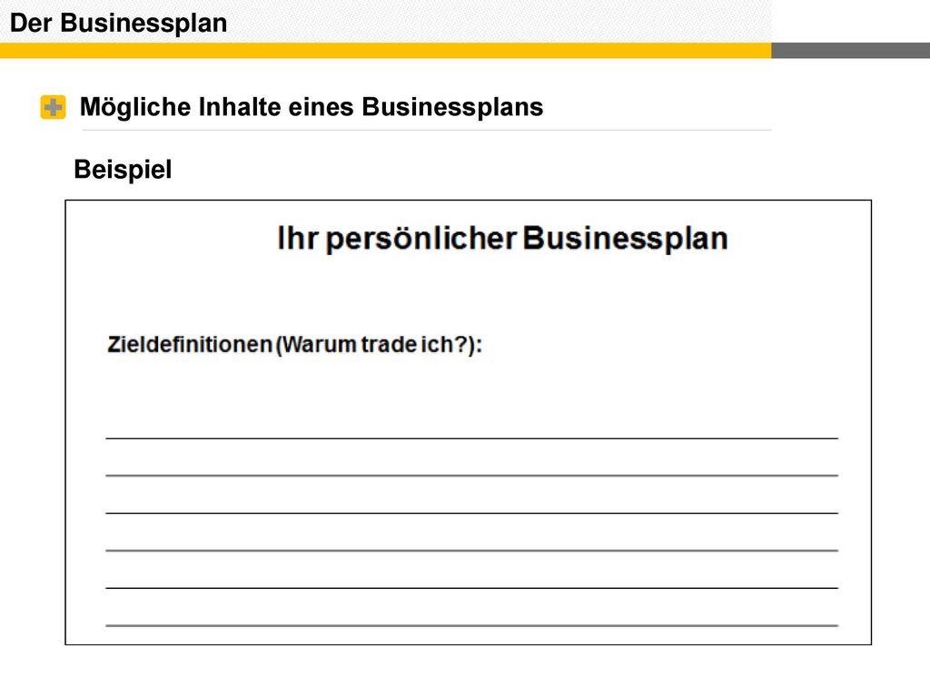 Der Businessplan Mögliche Inhalte eines Businessplans Beispiel