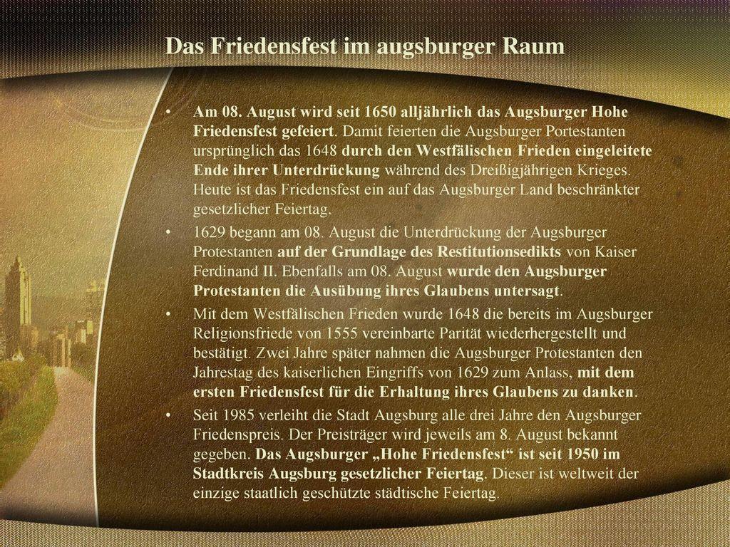 Das Friedensfest im augsburger Raum