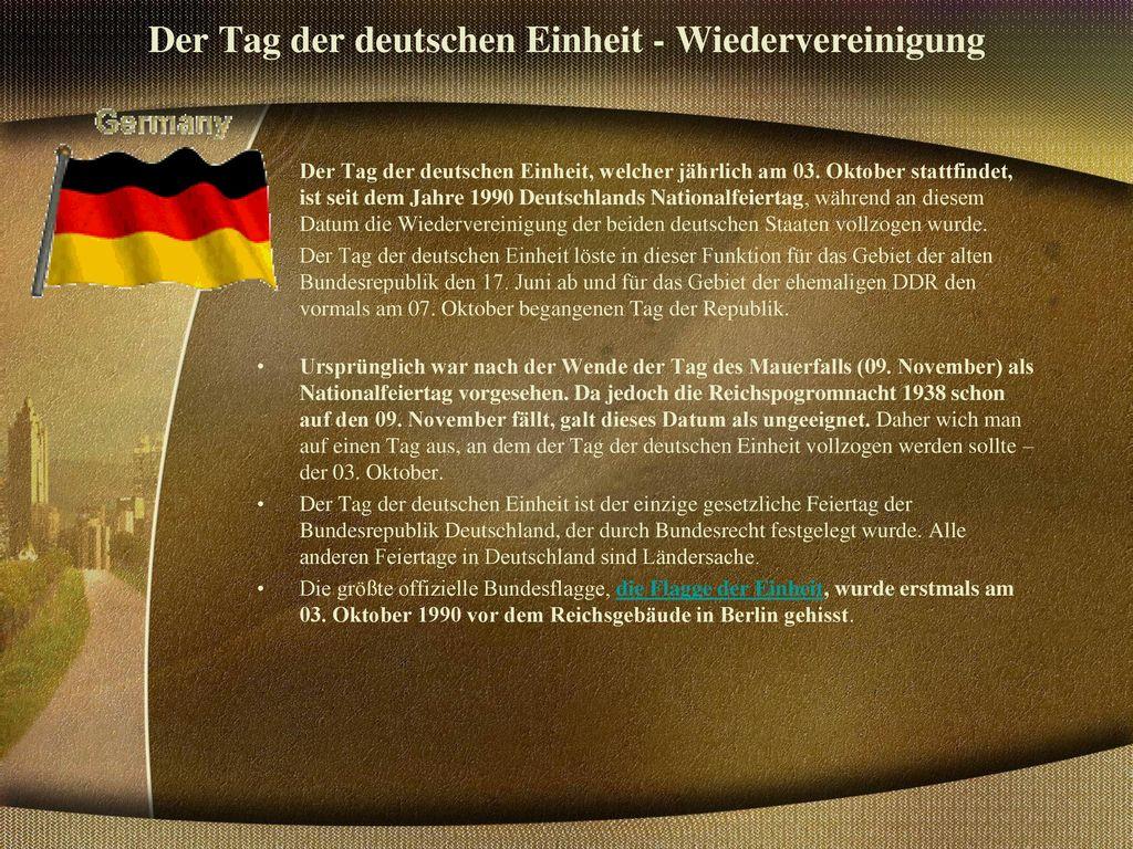Der Tag der deutschen Einheit - Wiedervereinigung