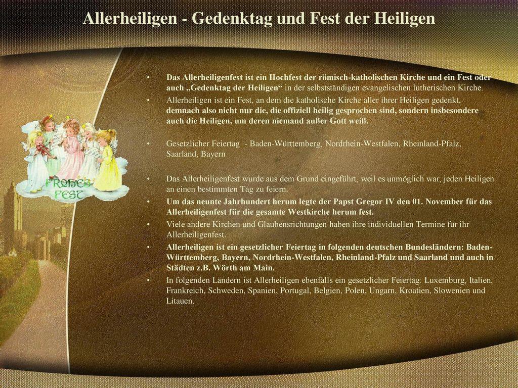 Allerheiligen - Gedenktag und Fest der Heiligen