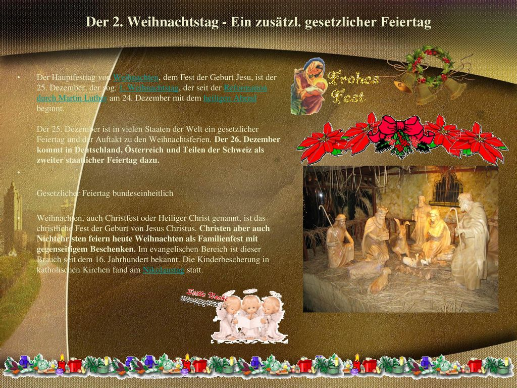 Der 2. Weihnachtstag - Ein zusätzl. gesetzlicher Feiertag