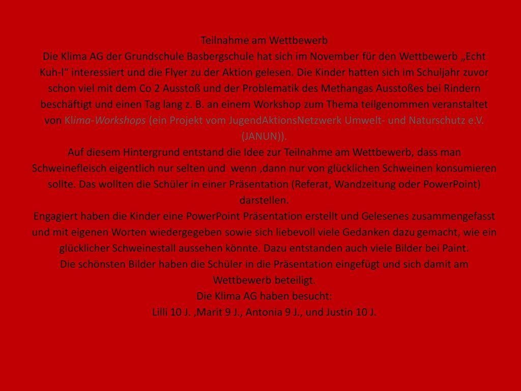 """Teilnahme am Wettbewerb Die Klima AG der Grundschule Basbergschule hat sich im November für den Wettbewerb """"Echt Kuh-l interessiert und die Flyer zu der Aktion gelesen."""
