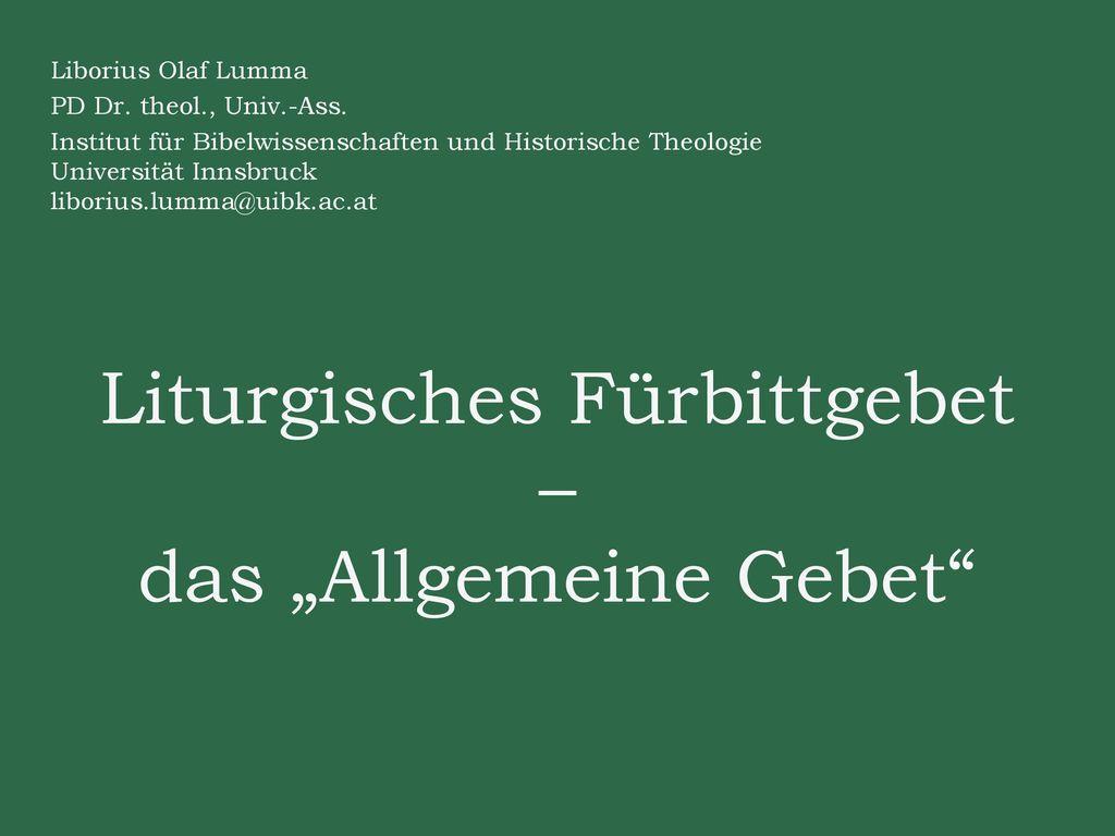 """Liturgisches Fürbittgebet – das """"Allgemeine Gebet"""