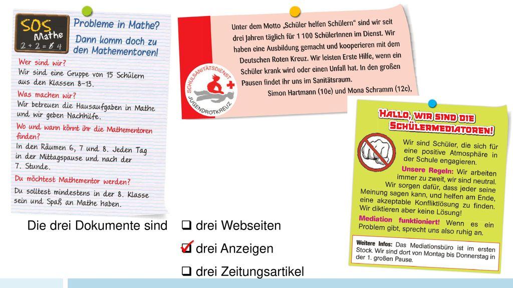  Die drei Dokumente sind  drei Webseiten  drei Anzeigen