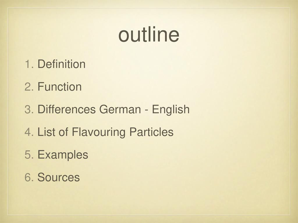 outline Definition Function Differences German - English