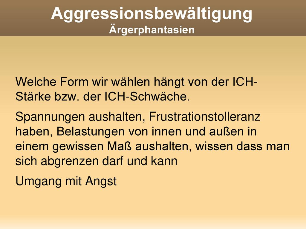Aggressionsbewältigung Ärgerphantasien