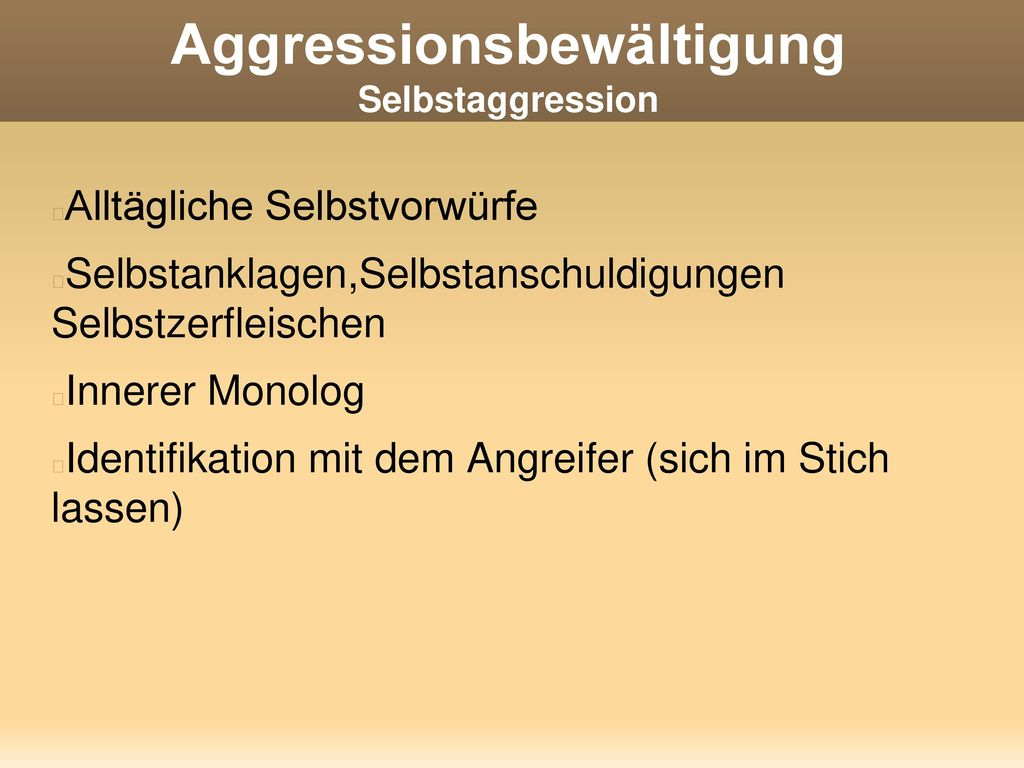 Aggressionsbewältigung Selbstaggression