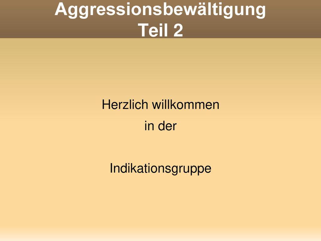 Aggressionsbewältigung Teil 2