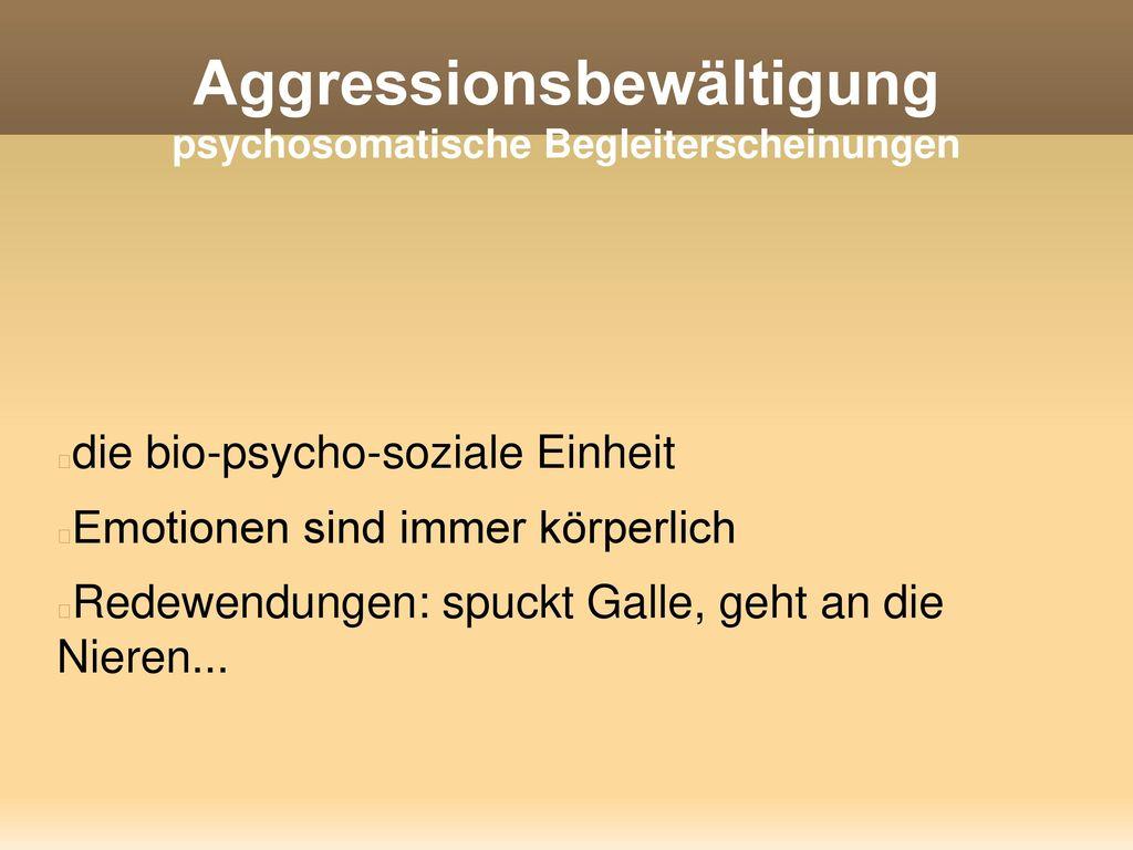 Aggressionsbewältigung psychosomatische Begleiterscheinungen