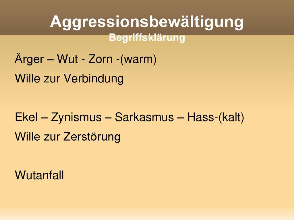 Aggressionsbewältigung Begriffsklärung