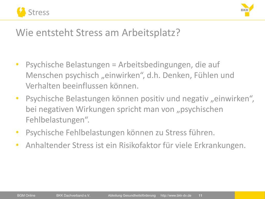 Wie entsteht Stress am Arbeitsplatz