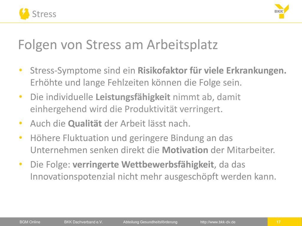 Folgen von Stress am Arbeitsplatz