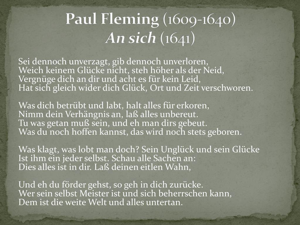 Paul Fleming (1609-1640) An sich (1641)