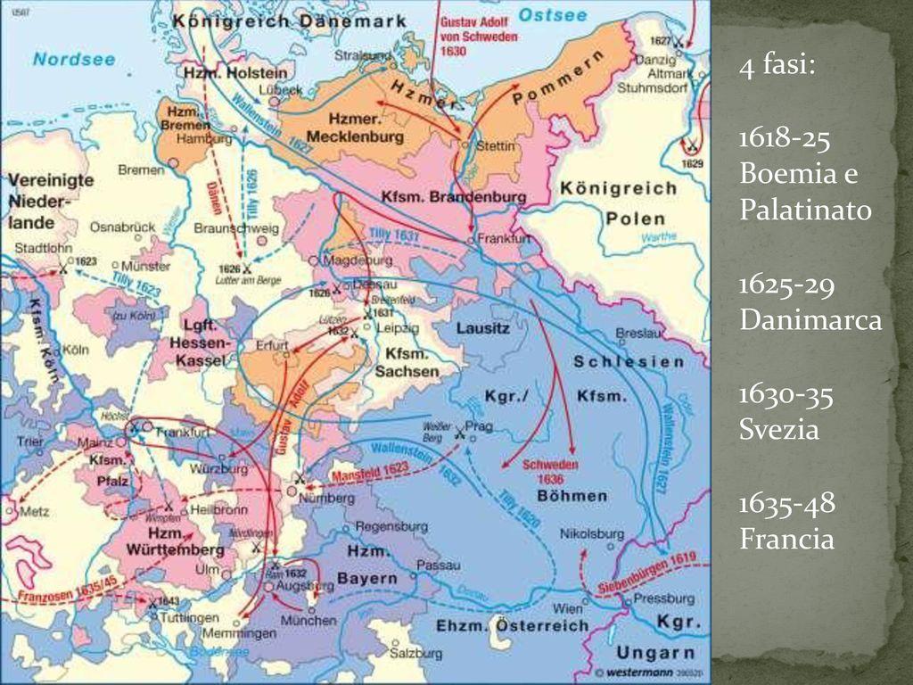 4 fasi: 1618-25 Boemia e Palatinato 1625-29 Danimarca 1630-35 Svezia 1635-48 Francia
