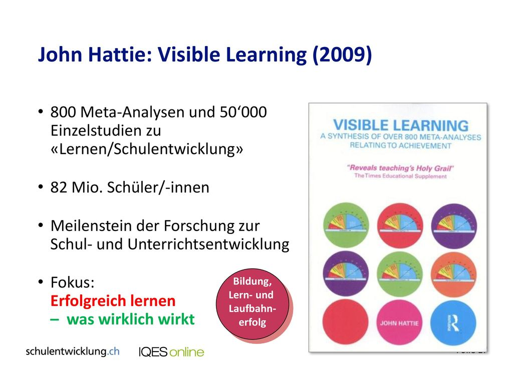John Hattie: Visible Learning (2009)