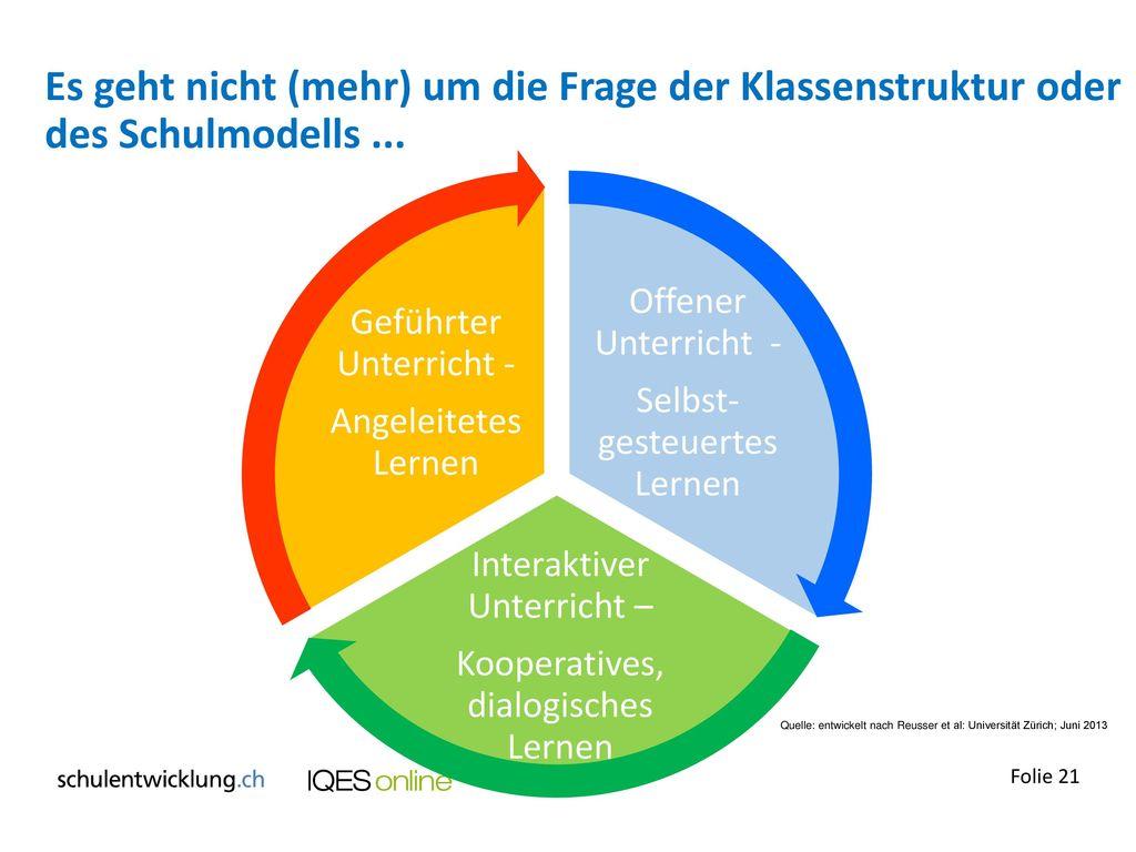 Es geht nicht (mehr) um die Frage der Klassenstruktur oder des Schulmodells ...