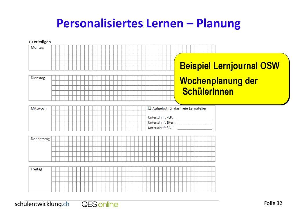 Personalisiertes Lernen – Planung