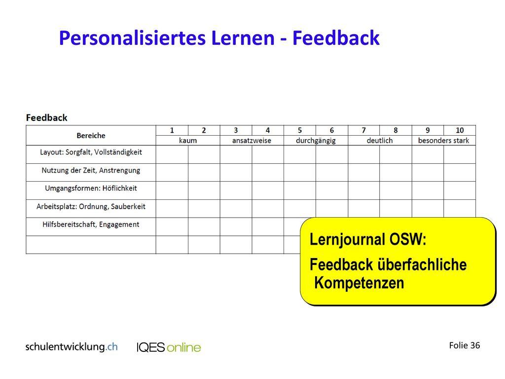 Personalisiertes Lernen - Feedback