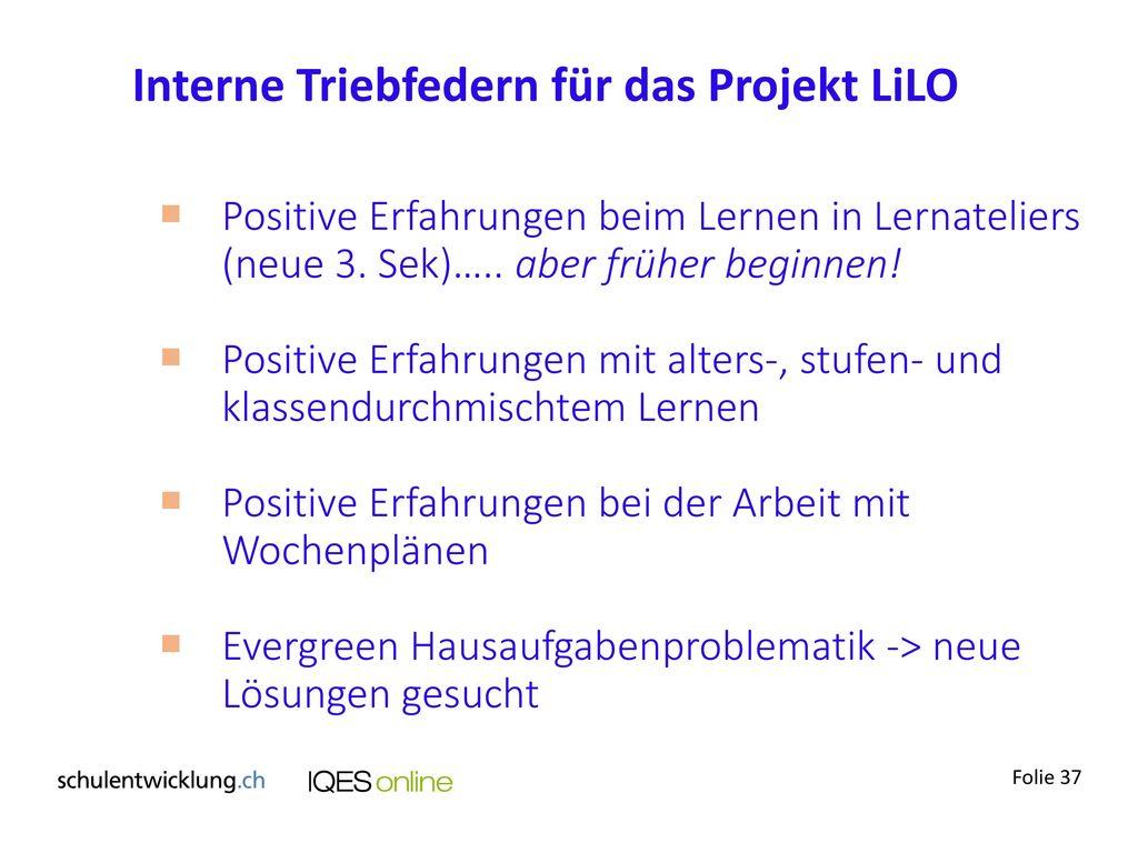 Interne Triebfedern für das Projekt LiLO