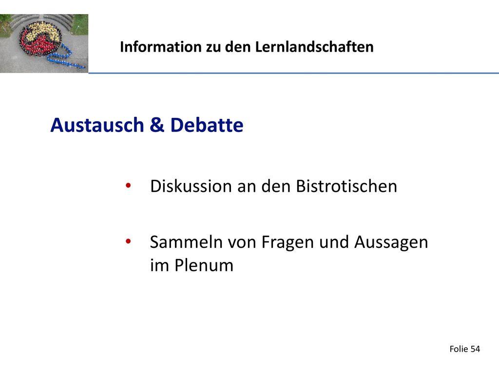 Austausch & Debatte Diskussion an den Bistrotischen