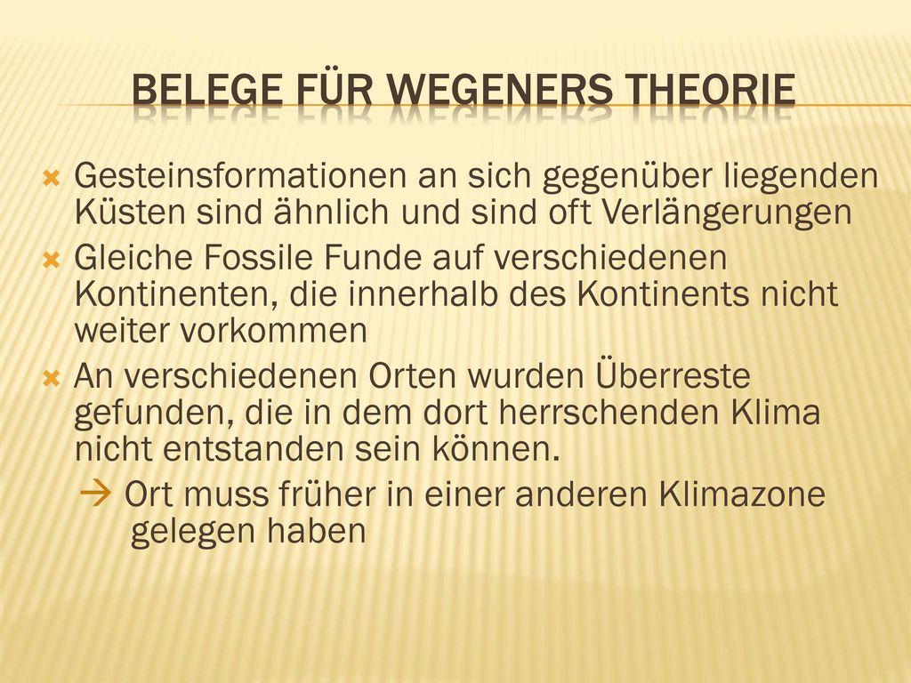 Belege für wegeners Theorie