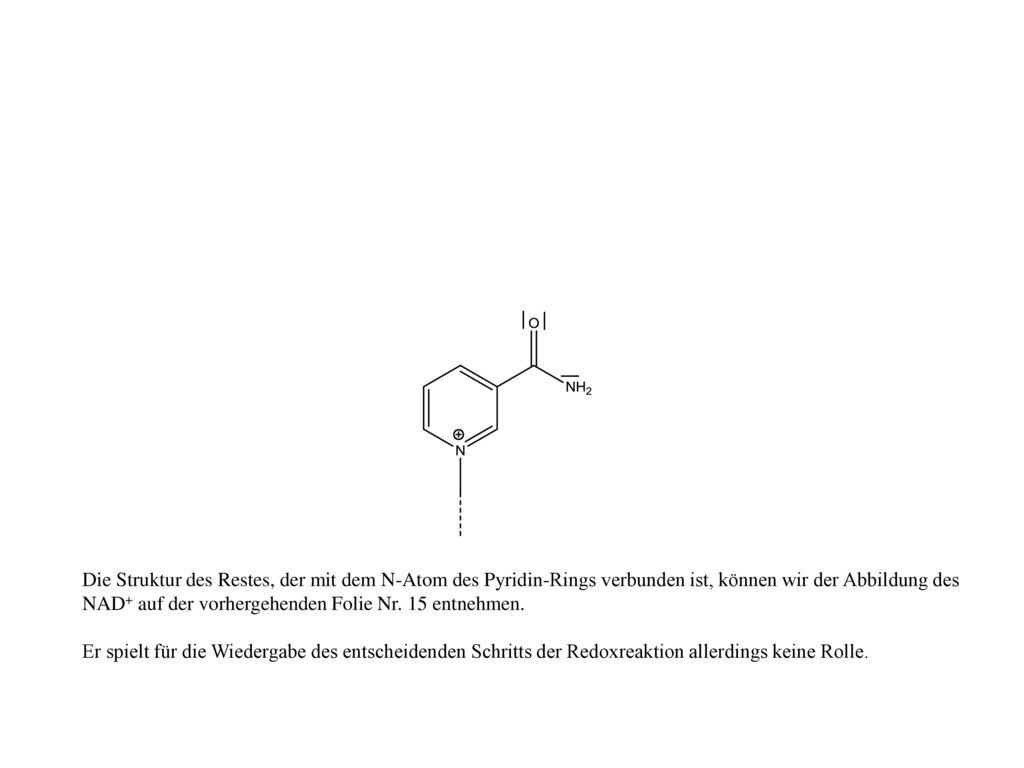 Die Struktur des Restes, der mit dem N-Atom des Pyridin-Rings verbunden ist, können wir der Abbildung des NAD+ auf der vorhergehenden Folie Nr. 15 entnehmen.