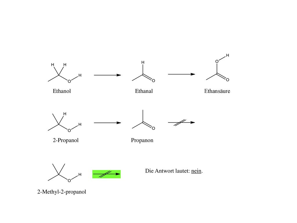 Ethanol Ethanal Ethansäure 2-Propanol Propanon Die Antwort lautet: nein. 2-Methyl-2-propanol