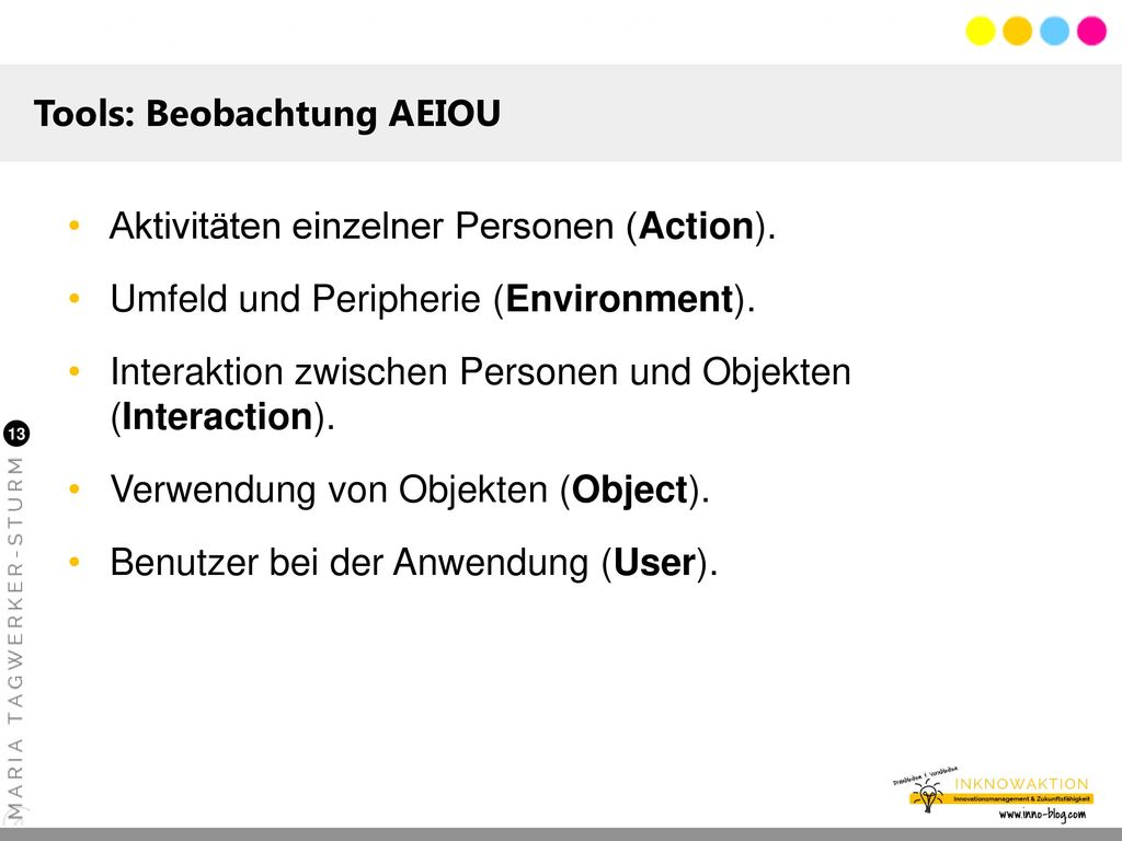 Tools: Beobachtung AEIOU
