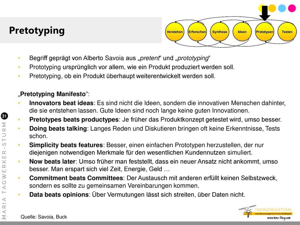 """Pretotyping Begriff geprägt von Alberto Savoia aus """"pretent und """"prototyping"""