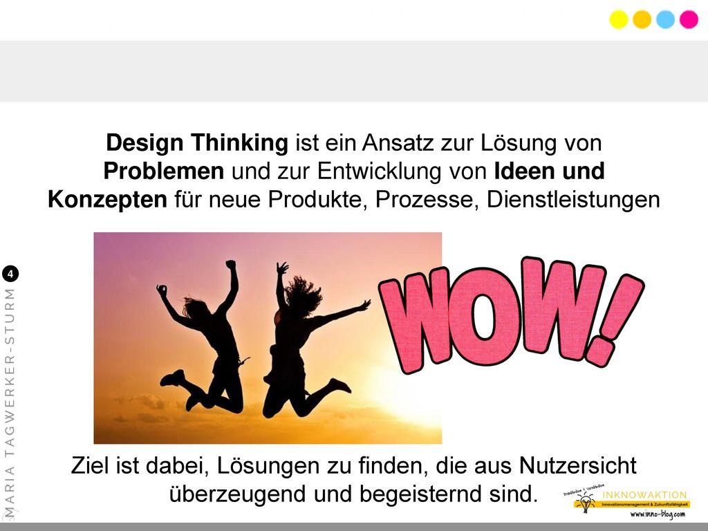 Design Thinking ist ein Ansatz zur Lösung von Problemen und zur Entwicklung von Ideen und Konzepten für neue Produkte, Prozesse, Dienstleistungen ... Ziel ist dabei, Lösungen zu finden, die aus Nutzersicht überzeugend und begeisternd sind.