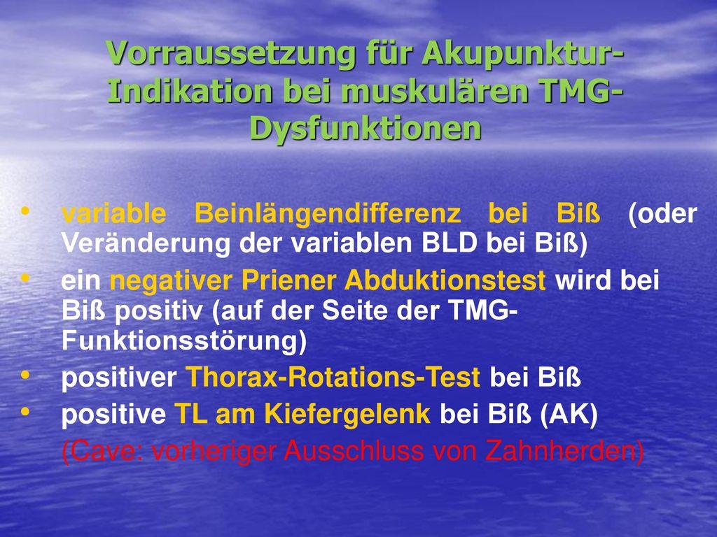 Vorraussetzung für Akupunktur-Indikation bei muskulären TMG-Dysfunktionen