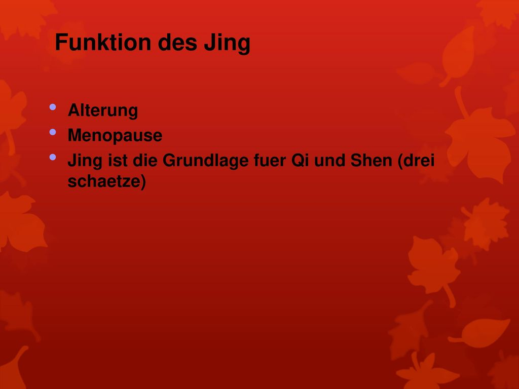 Funktion des Jing Alterung Menopause