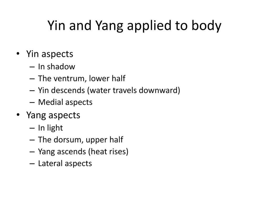 Yin and Yang applied to body