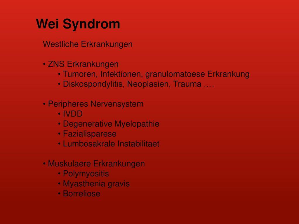 Wei Syndrom Westliche Erkrankungen ZNS Erkrankungen